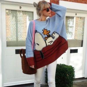 ZARA Jacquard Peanuts Snoopy Oversize Sweater Sz S